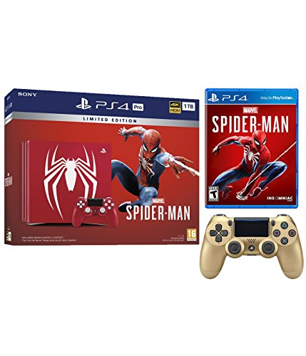 Playstation 4 Pro Marvel's Spider-Man Limited Edition Amazing Red 1TB Console and Extra Gold Dualshock Wireless Controller Bundle