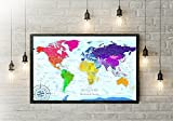 The Rainbow World Map - Use as a Wall Map or Push Pin Map - Framed Wall Map or Pin Board Map