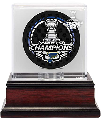 NHL St. Louis Blues Unisex St. Louis Blues 2019 Stanley Cup Champions Mahogany Hockey Puck Logo Display CaseSt. Louis Blues 2019 Stanley Cup Champions Mahogany Hockey Puck Logo Display Case, NA, NA (Steiner Sports Puck Case)