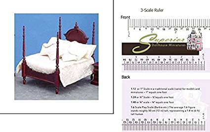 Amazon.com: Dollhouse Miniature 4-poster Bed Set, Mahogany ...