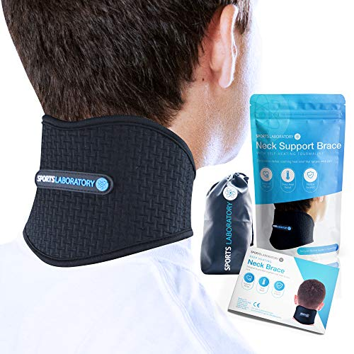 Sports Laboratory ® Neck Support Brace for Neck Pain with Self Heating Magnets & Tourmaline Adjustable Cervical Collar (Regular (11-17 inch))