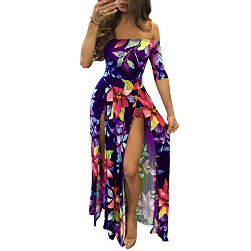Women Sexy Maxi Romper Dresses - Plus Size Floral Off Shoulder Short Jumpsuits Summer Dress High Slit Purple 5XL