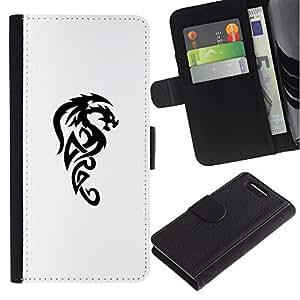 KingStore / Leather Etui en cuir / Sony Xperia Z3 Compact / Dragón criatura mítica Decal Negro;