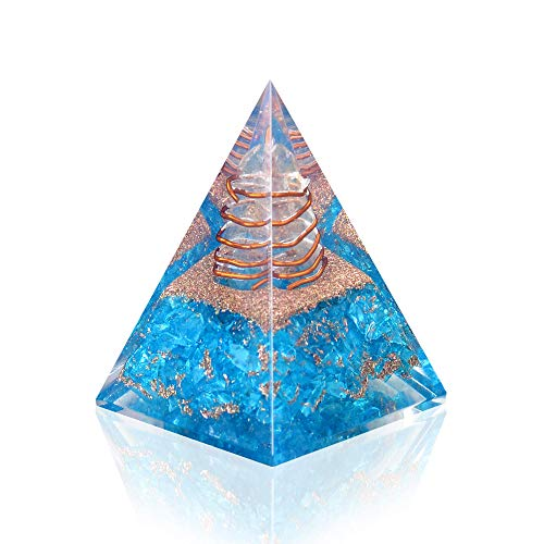 (Orgone Pyramid - Emotional Healing Aquamarine Nubian Orgonite Pyramid for - Emf Protection Meditation Orgone Energy Generator - Anti Aging Crystal Yoga Self Relief)