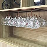 WTT Warm Van Retro Creative Under Cabinet 12 Hook Shelf,Mugs Coffee Cups Wine Glasses Storage Drying Rack,Cabinet Hanging Shelves,Organizer for Ties and Belts,Upside Down Wine Glass Holder(Bronze)