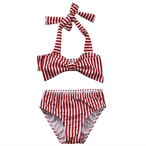 2Pcs Set Toddler Baby Girl Swimsuit Striped Halter Swimwear Beachwear Bikini Tankini Sunsuit (1-2T)
