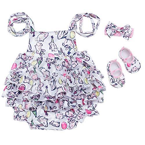 Sunyastor 3Pcs Toddler Baby Girl Easter Outfits Set,Strap Cartoon Rabbit Print Romper Jumpsuit Adjustable Headband+Shoes Blue -