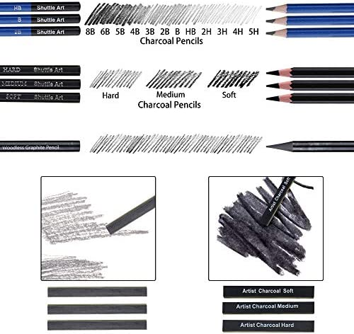 Sketching and Drawing Pencils Set Art Supplies Drawing Set with Graphite Charcoal Sticks Tool Sketch book for Adults Kids by Shuttle Art 37-Piece Professional Sketch Pencils Set in Zipper Carry Case