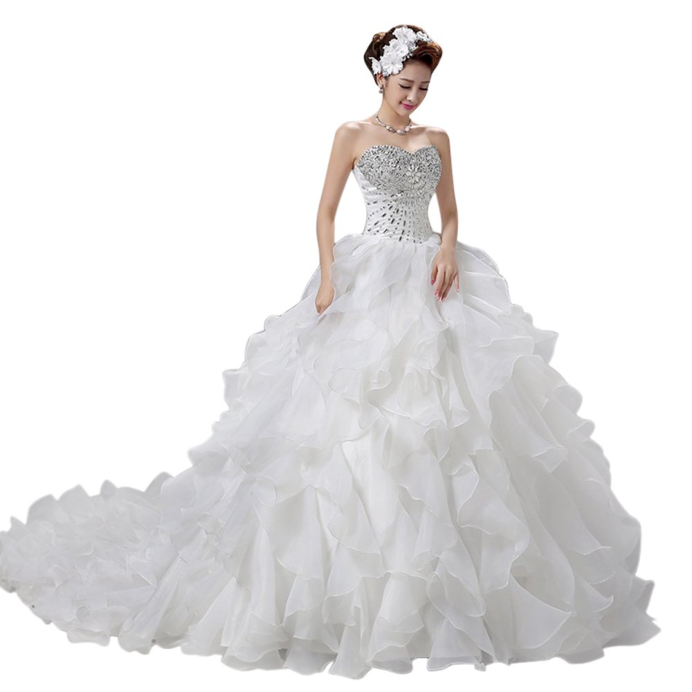 LIWA Beading Ruffles Long Wedding Dress Strapless Court Train Bandage Tutu Bridal Veil (small, white) by LIWA (Image #8)