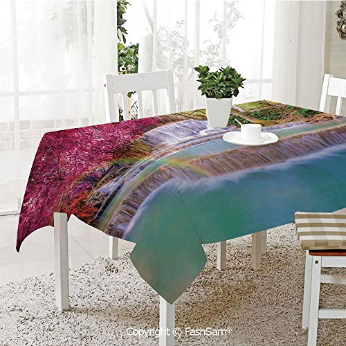 Party Decorations Tablecloth Rain Forest in Vietnam Laos with Asian Pink and Orange Trees Side of River Image Table Protectors for Family Dinners (W55 xL72)