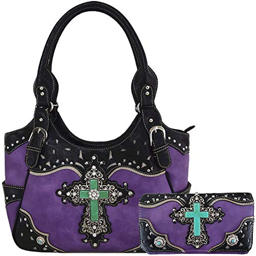 Western Rhinestone Cross Tooled Leather Totes Concealed Carry Purse Handbag Women Shoulder Bag Wallet Set (#2 Purple Set)