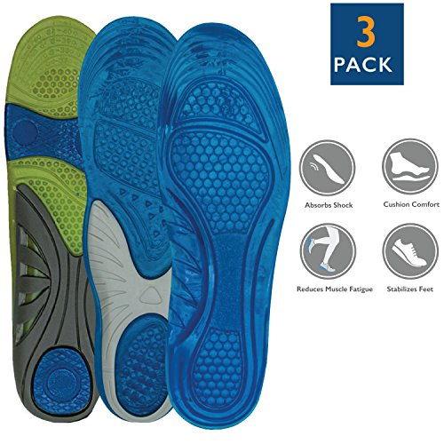 3 Pack of Full Length Orthotic Insole/ Insert Relieve Pain Althletic Value Unisex Men US 8-12/Women US 10-14 Variety Heel Strike Minimizer Pack (601,632,670)