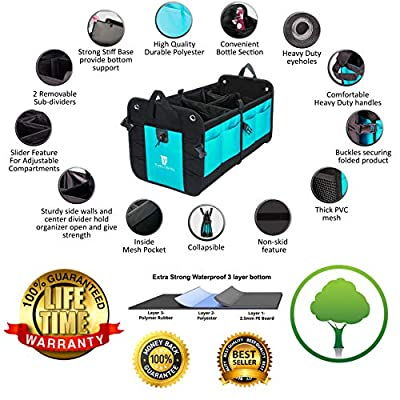 TRUNKCRATEPRO Premium Multi Compartments Collapsible Portable Trunk Organizer for auto, SUV, Truck, Minivan (Black) (Regular, Cyan Green): Automotive