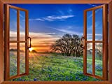 "Wall26 - Beautiful Grass Field View from inside a Window | Wall26 Removable Wall Sticker / Wall Mural - 36""x48"""