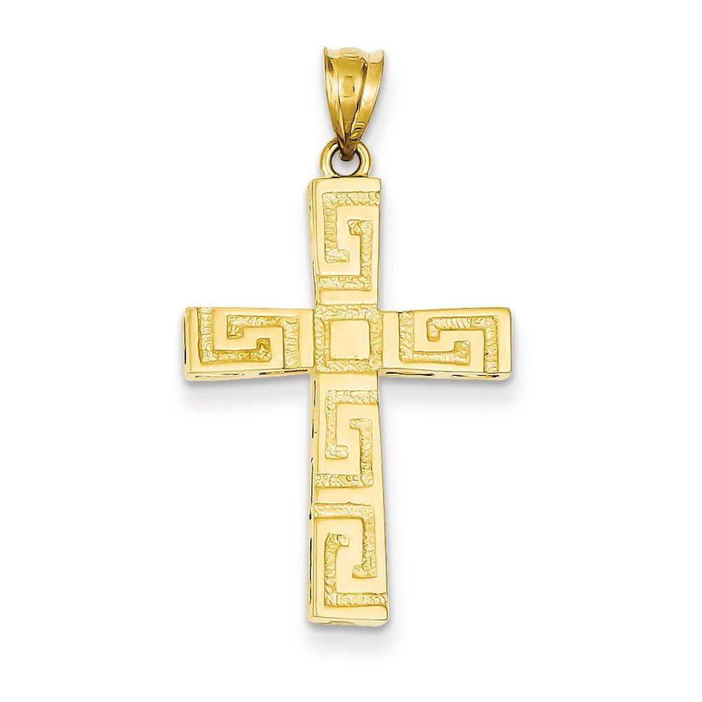 Lex & Lu 14k Yellow Gold Greek Key Cross Pendant-Prime