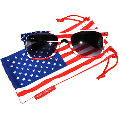 Classic American Flag Sunglasses USA Patriot Colored Lens 4th of July OWL (White_Black_Fr_Smoke_Ls PC Lens)