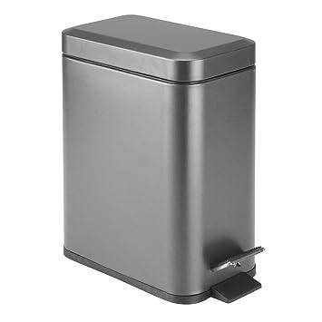 Amazon.com: mDesign - Cubo de basura rectangular de 5 litros ...