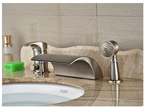 Gowe Luxury Nickel Brushed Bathroom Deck Mounted Waterfall Basin Faucet Sink Mixer Tap With Hand Shower 0