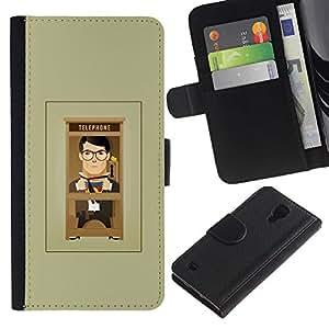 SAMSUNG Galaxy S4 IV / i9500 / SGH-i337 Modelo colorido cuero carpeta tirón caso cubierta piel Holster Funda protección - Cartoon Man Grey Minimalist