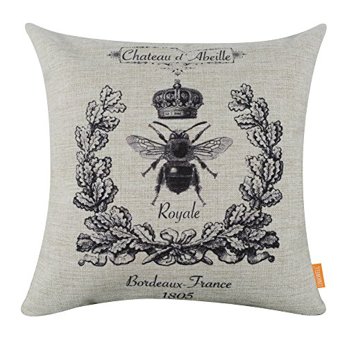 LINKWELL 4545cm Black Queen Bee Crown Burlap Cushion Covers Pillow Case - French Country Chair Cushions