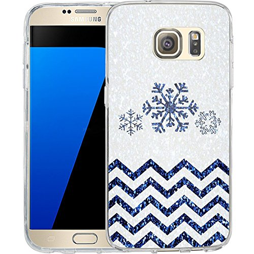 S7 Case Christmas Design Chevron snowflakes, LAACO Scratch Resistant TPU Gel Rubber Soft Skin Silicone Protective Case Cover for Samsung Galaxy S7