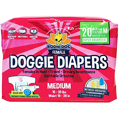 Disposable Dog Female Diapers | 20 Premium Quality Adjustable Pet Wraps with Moisture Control & Wetness Indicator | 20 Count Medium Size (Doggie Diapers For Female Dogs In Heat)
