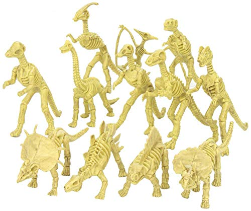 Kicko Assorted Dinosaur Fossil Skeleton Toys - 6 to 7 Inch Figures -12 Pieces - for Kids, Boys, Girls, Pretend, Play Time, Games, Party, and -