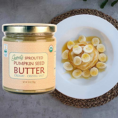 Gopal's Sprouted Organic Raw Pumpkin Seed Butter, Salted and Creamy | 100% Gluten-Free, Keto, Paleo and Whole 30-Friendly | 8 Ounce Glass Jar (228 Grams)