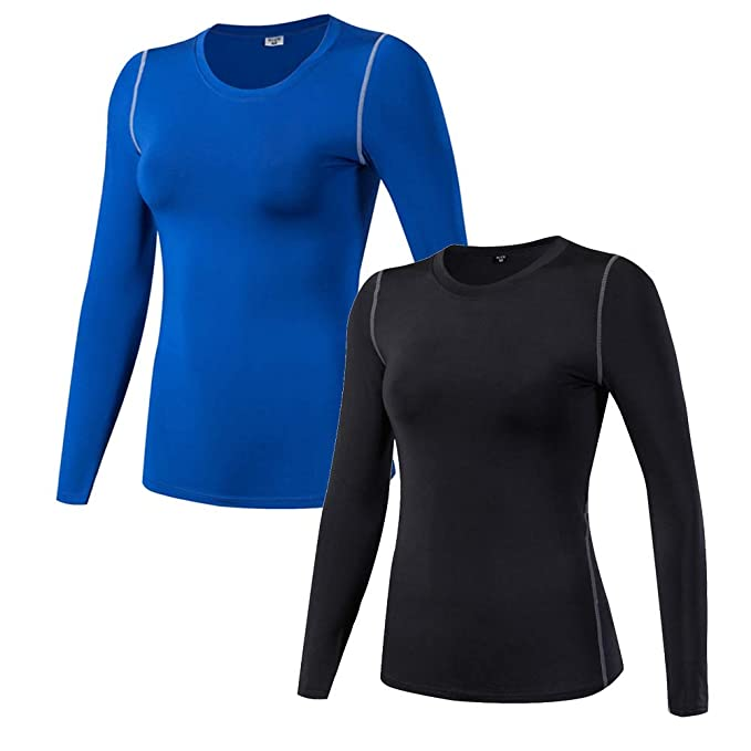 WANAYOU Women s Compression Shirt Dry Fit Long Sleeve Running Athletic T- Shirt Workout Tops be17b8b6a0