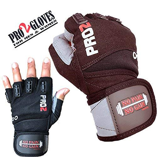 UniteduShop 2018 Pro 2 Weightlifting Gloves with Integrated Wrist Wrap Support for Fitness, WOD, Gym Workout & Powerlifting -Extra Padding to Avoid Calluses - for Men & Women
