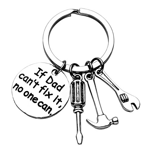 Jovivi If Dad Can't Fix It No One Can Repair Tools Keychain,Screwdriver/Hammer/Spanner Charm Key Chain Ring for Dad,Fathers Day Gift