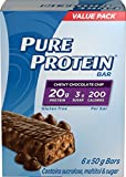 Pure Protein Bars, Gluten Free, Snack Bar, Chewy Chocolate Chip, 50 gram, 6 count