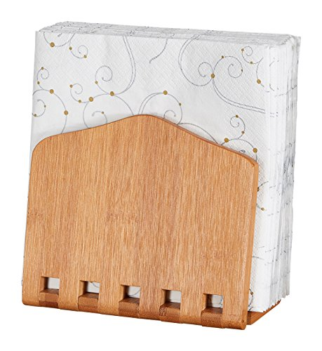 (Home Intuition Bamboo Adjustable Napkin Holder)