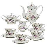 Grace Teaware 11-Piece Porcelain Tea Set Purple Floral