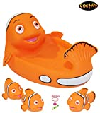 frog popper toy - Rubber Bathtub Pals – Floating Bath Tub Toys, Clown Fish Family, Pool/Beach Toy for Boys and Girls, Orange