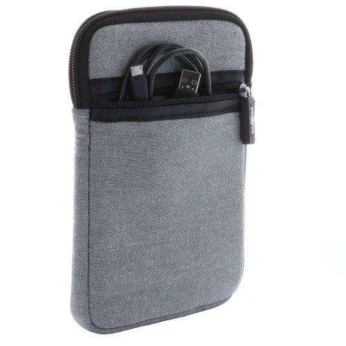 XiRRiX Tasche Reißverschluss für eBook Reader Größe 6 Zoll (15,24cm) für max. Abmessungen von 175 x 120 mm - grau