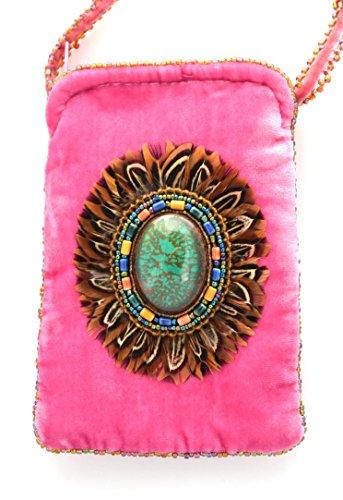 Tasche aus Velours, Seide für Telefon iPhone oder Brille Motiv Federn–Kugeln von Glas und Porzellan Rose