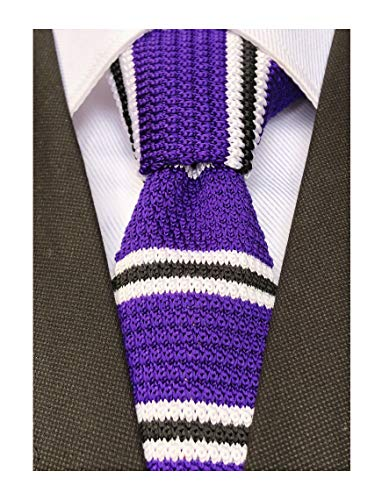 (Mens Purple Black White Style Knit Novelty Neck Ties Ugly Long Woven Smart Soft Winter Silk)