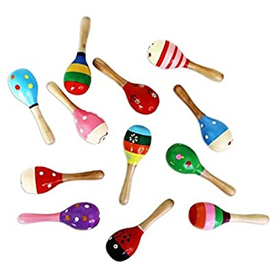 CARDEON 1PC Wooden Maraca Percussion Rattle Shaker Sand Hammer Musical Instrument Educational Toys for Kids,Random Pattern: Home Improvement