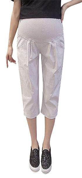 a0d55631f0ab4 Hibukk Cotton Linen Relaxed Pleat Detail Plain Full Panel Maternity Capri  Pants, Gray 2,