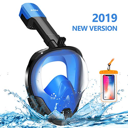 EVOLAND Snorkel Mask Full Face for Adults Youth, Diving Snorkeling Mask Anti-Fog Set with 180° View, GoPro Mount, Easy Breath Dry Top Design, Adjustable Head Straps