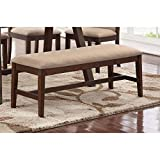 Modern Beige Plush Upholstered Seat Cushion Dining Bench with Brown Rubber Wood