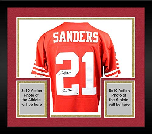 Framed Deion Sanders Signed San Francisco 49ers Mitchell & Ness Retired Player Vintage Replica Jersey w/