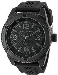 Wrist Armor Mens 37600007 Wrist Armor Analog Display Analog Quartz Black Watch