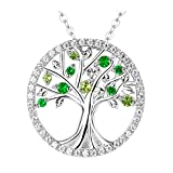 "Elda&Co The Tree of Life Necklace Fine Sterling Silver Peridot Pendant Necklace with 18""+2"" Chain 1125"