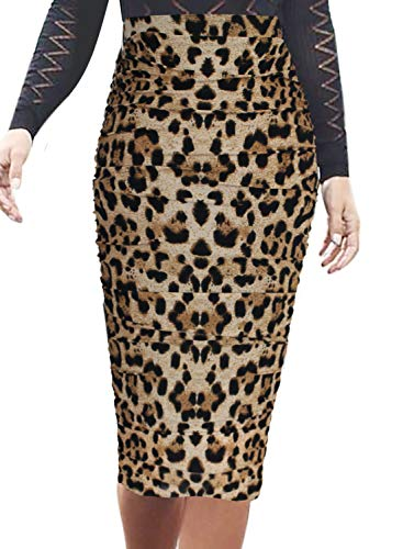 VFSHOW Womens Elegant Ruched Ruffle High Waist Pencil Midi Mid-Calf Skirt 2278 Leo S (Leopard Skirt Stretch)