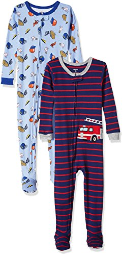 Toddler Boys Cotton Pajamas - Carter's Baby Boys' Toddler 2-Pack Cotton Footed Pajamas, Sports/Fire Truck, 3T