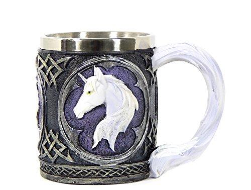 Black and White Purple Celtic Mug with White Unicorn (Crystal Chalice)
