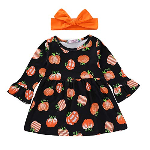 Infant Baby Girls Toddler Halloween Pumpkin Pattern Long Sleeve Party Dress Costume Headband Bowtie Outfits 0-4T (6-12 Months, Black) ()