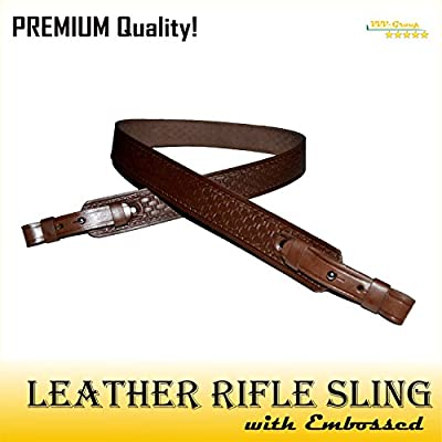 TOTAL SALE! Leather Rifle Sling, Strap for Shotgun, Hunting – Noiseless - Natural Leather, Brown/Black – Premium Quality Guaranteed